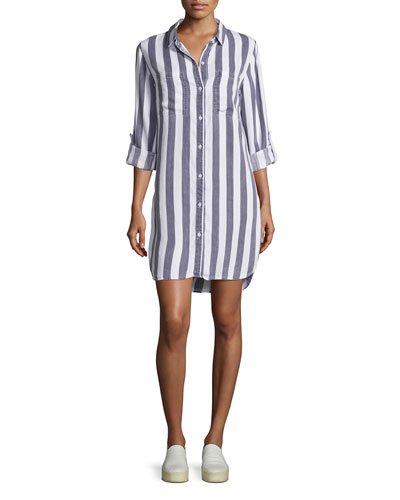 Julian Striped Shirt Dress, Blue/White