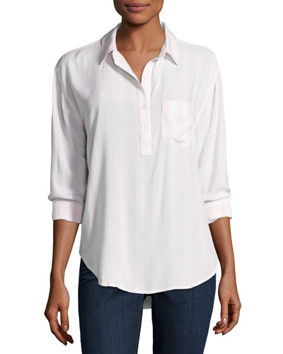 Elle Patch-Pocket Shirt, Pink/White