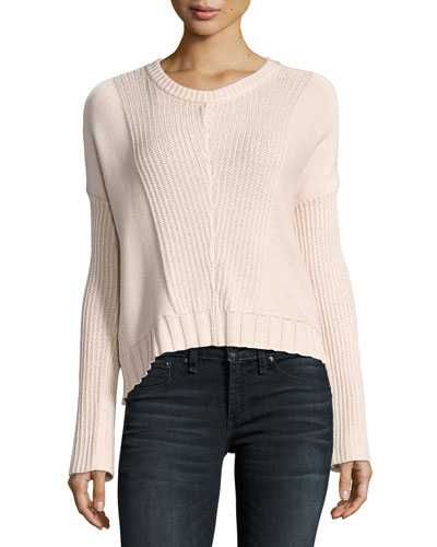 Elsa Long-Sleeve Pullover Sweater, Blush