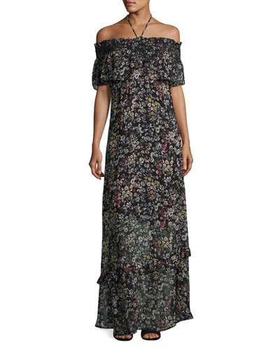 Loma Floral-Print Maxi Dress, Multipattern