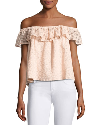 Celestine Off-the-Shoulder Lace Top, Pink