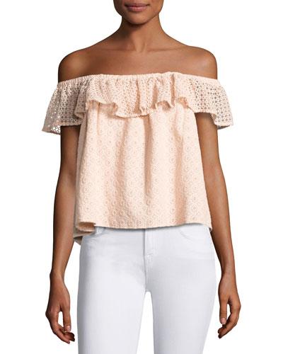 Celestine Off-the-Shoulder Lace Top, Pink