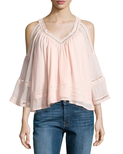 Deneuve Cold-Shoulder V-Neck Top, Pink