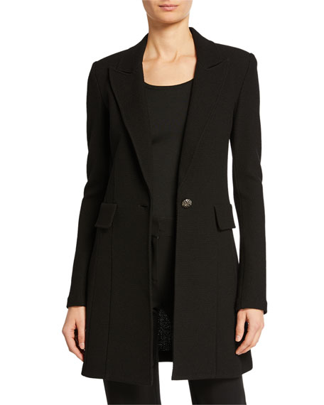 St. John Collection Micro Boucle Long Blazer, Black