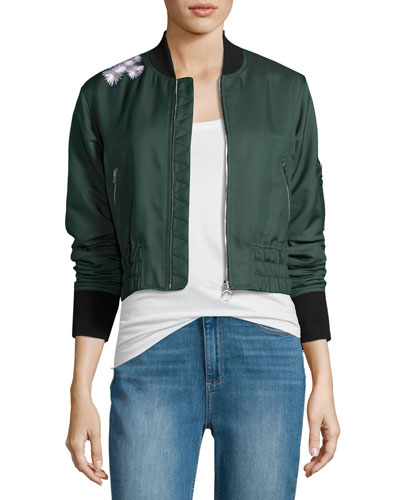 Ancel Long-Sleeve Quilted Moto Jacket, Green