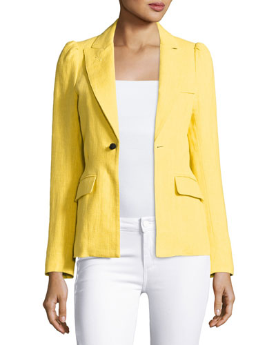 Mildred One-Button Blazer, Yellow