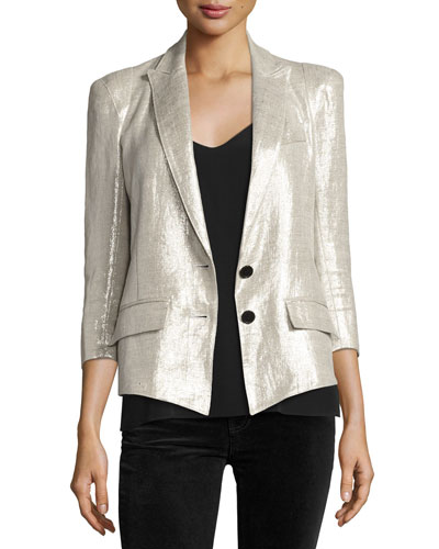 Pagoda Metallic One-Button Blazer, Metallic Linen