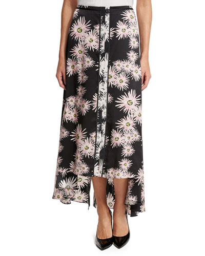 Mae Floral High-Low Midi Skirt, Black/Multicolor