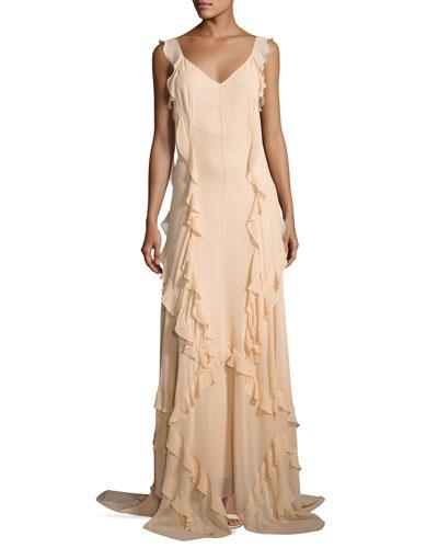 Catherine Sleeveless Silk Ruffle Gown, Eggshell