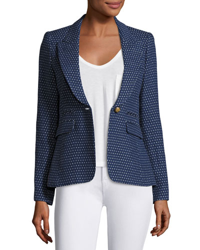 Peaked Lapel One-Button Blazer, Blue
