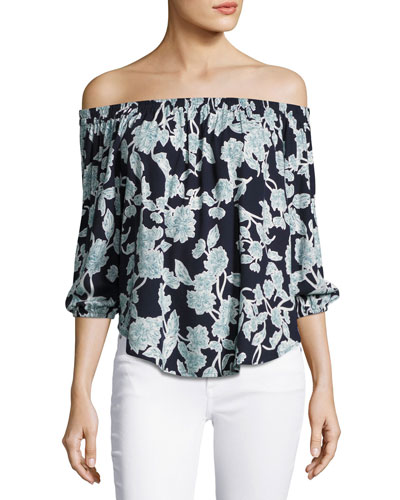 Floral Cold-Shoulder Top, Navy