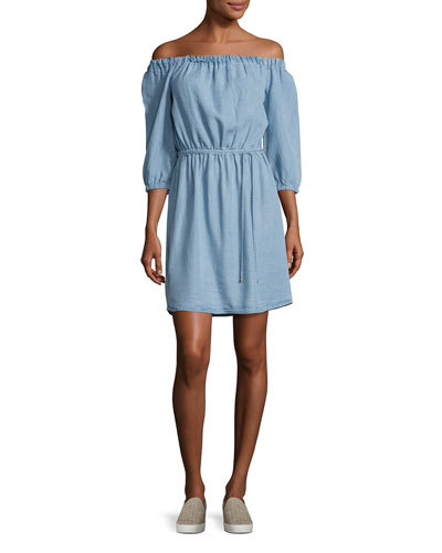 Chambray Off-the-Shoulder Dress, Light Blue