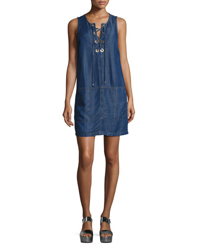 Lace-Up Sleeveless Chambray Dress, Dark Blue