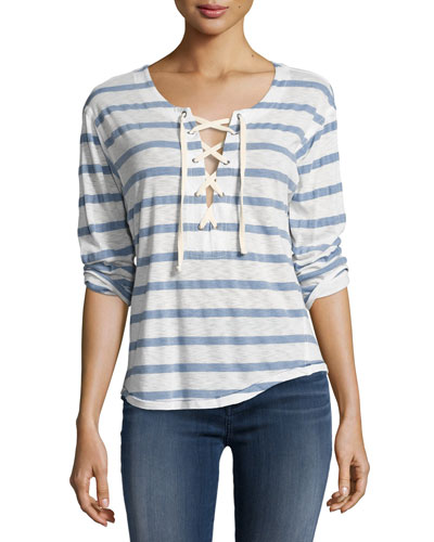 Cliffbrook Striped Lace-Up Top, Chambray (Blue)