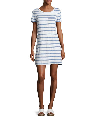 Cliffbrook Striped Pocket T-Shirt Dress, Chambray (Blue)