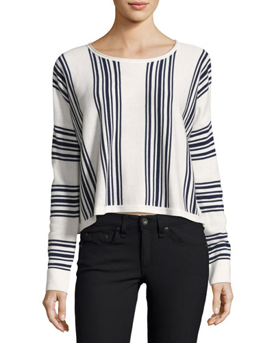 Bayside Stripe High-Low Pullover, Academy Navy/Natural