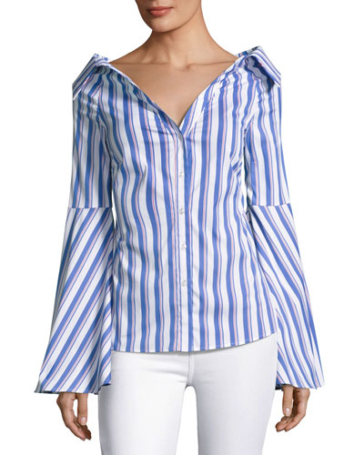 Persephone Striped Décolleté Shirt, Blue