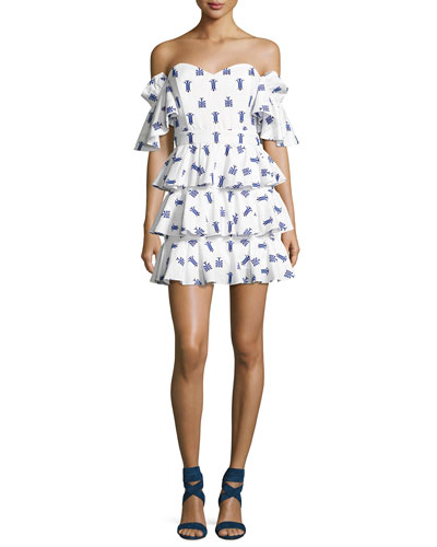 Irene Ruffled Cotton Midi Dress, Blue