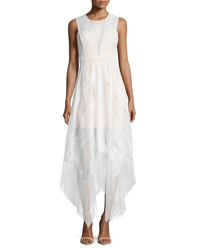 Andi Lace Handkerchief-Hem Dress, White