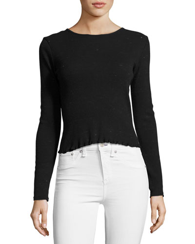 Tyler Long Sleeve Scoop-Back Top, Black
