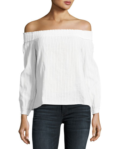 Drew Off-the-Shoulder Top, White