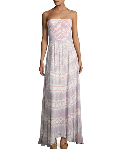 Lively Smocked Strapless Maxi Dress, Pink