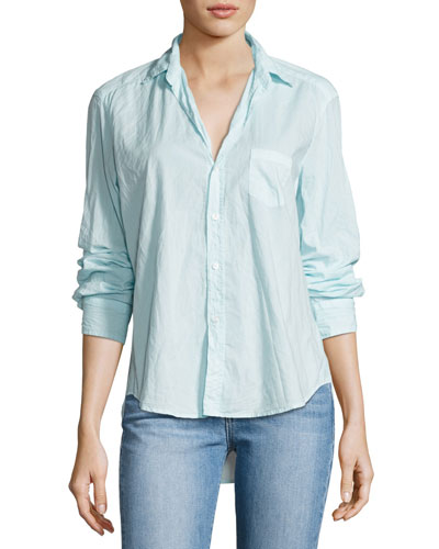 Eileen Long-Sleeve Button-Front Shirt, Aqua