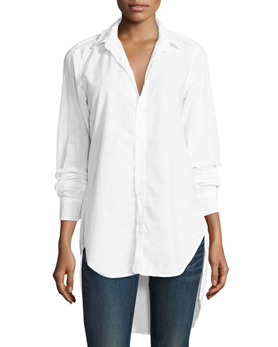 Grayson High-Low Button-Down Shirt, White