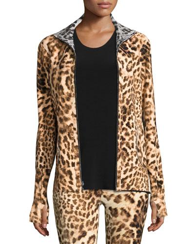 Reversible Zip-Front Active Turtle Jacket, Leopard