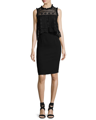 Sleeveless Lace-Trim Silk Crepe de Chine Cocktail Dress, Black