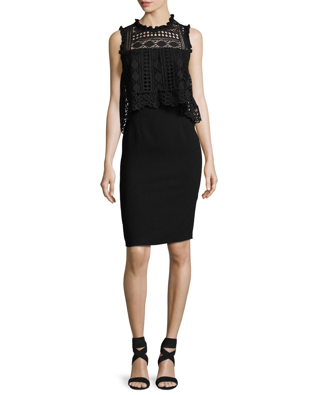 Sleeveless Lace-Trim Silk Crepe de Chine Cocktail Dress, Black