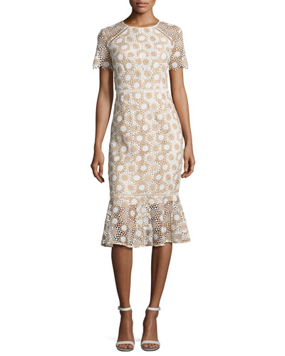 Short-Sleeve Lace Fit-and-Flare Midi Dress