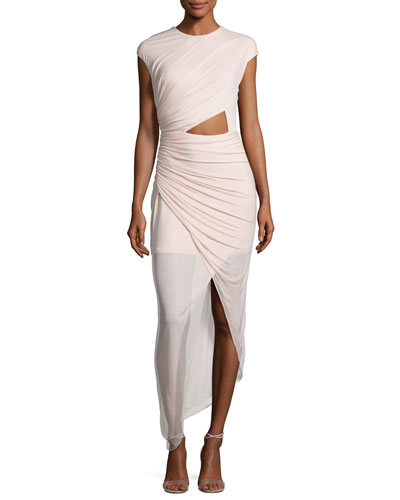 Cap-Sleeve Ruched Jersey Cocktail Dress, Primrose Pink