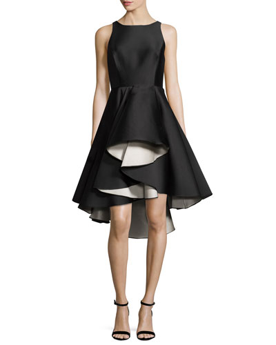 Sleeveless Colorblock Fit-and-Flare Cocktail Dress, Black/White