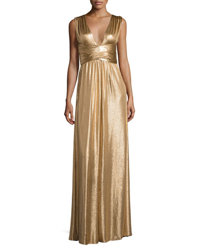Sleeveless Wrap Metallic Jersey Gown, Copper