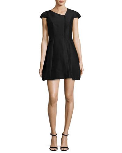 Cap-Sleeve Faille Cocktail Dress, Black