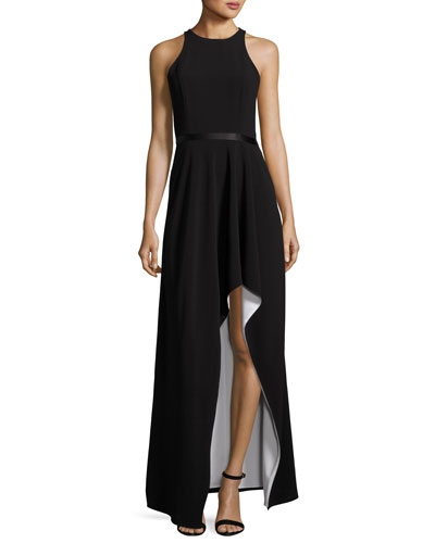 Colorblock Racerback High-Low Gown, Black/White