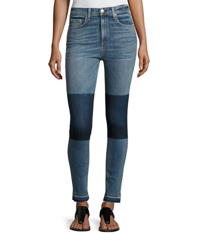 Dive High-Rise Colorblock Capri Jeans, Indigo