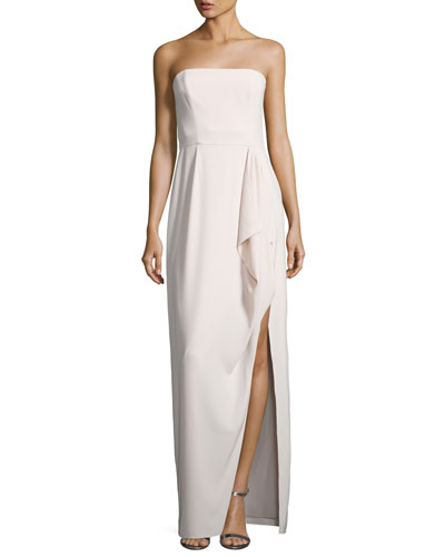 Structured Stretch Crepe Column Gown, Primrose Pink