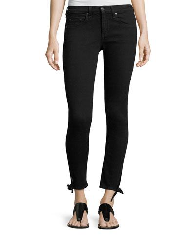 Steve Mid-Rise Capri Jeans W/ Tie-Hem Detail, Black