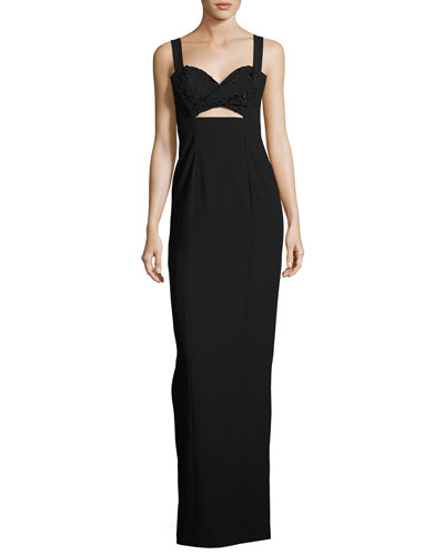 Rosalita Sleeveless Lace-Trim Column Gown, Black