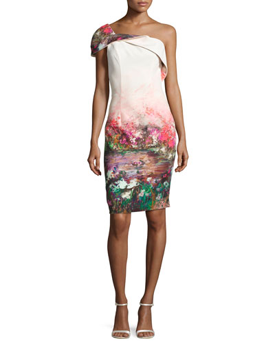 Rochester One-Shoulder Floral Stretch Cocktail Dress, Multicolor