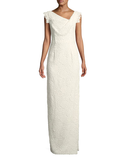 Jackie Anniversary Lace Column Gown, White