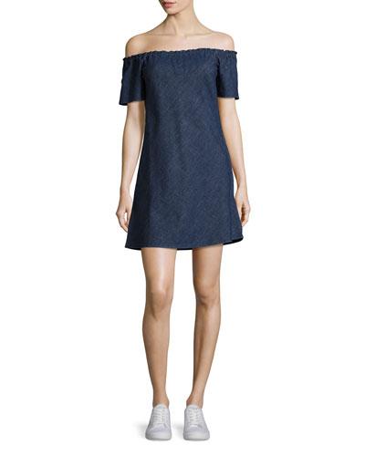 Harely Off-the-Shoulder Denim Dress, Indigo