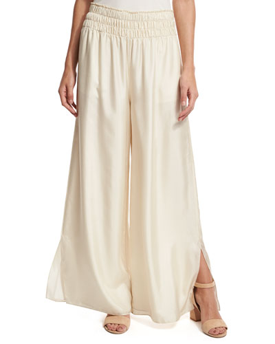 Elton Wide-Leg Stretch Satin Pants, Cream