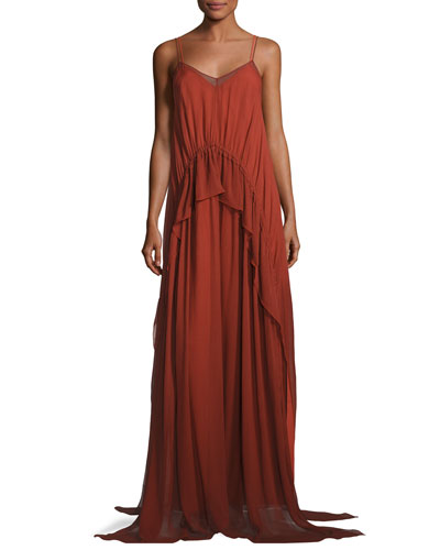 Catriona Sleeveless Silk Drawstring Ruffle Gown, Brick