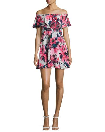 Penelope Off-the-Shoulder Floral Circle Dress, Multicolor