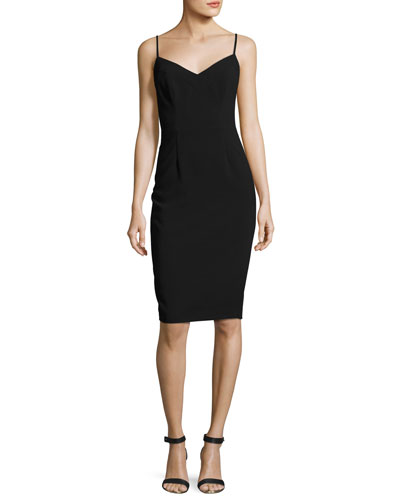 Chantal Sleeveless Ponte Sheath Dress, Black
