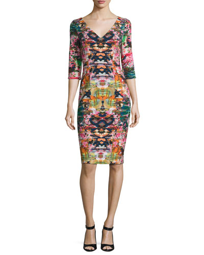 Sherilyn 3/4-Sleeve Floral Ponte Sheath Dress, Multicolor