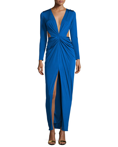 Scarlett Gathered-Front Gown W/Cutouts, Lapis
